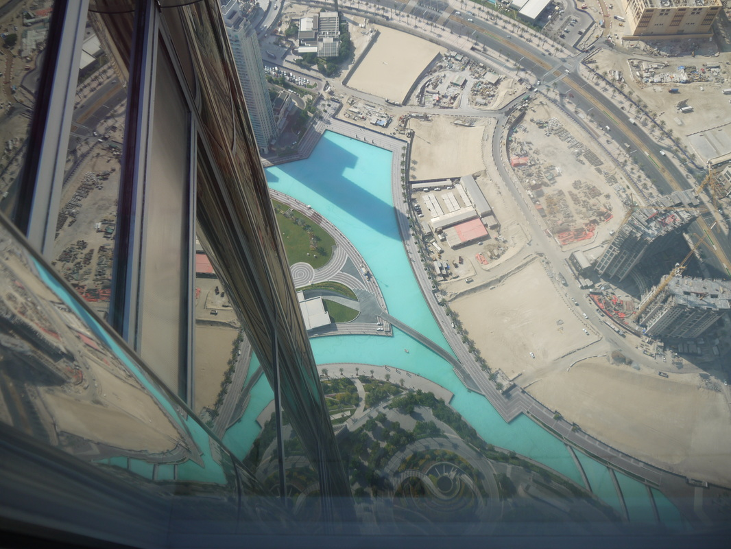 Travelling up the Burj Khalifa, Dubai, the tallest building in the world