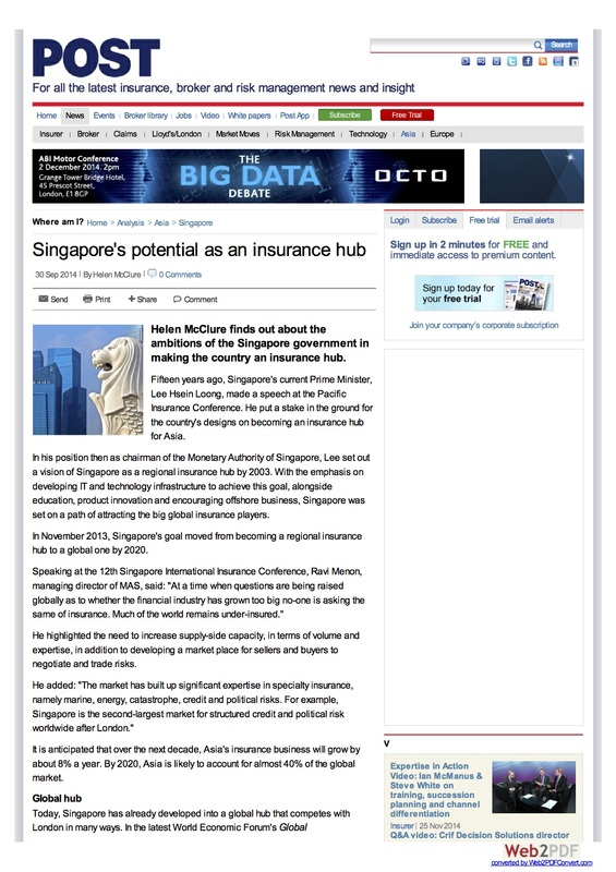 Article: Singapore as an insurance hub